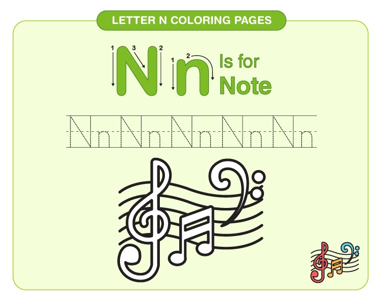 letter n coloring page 2