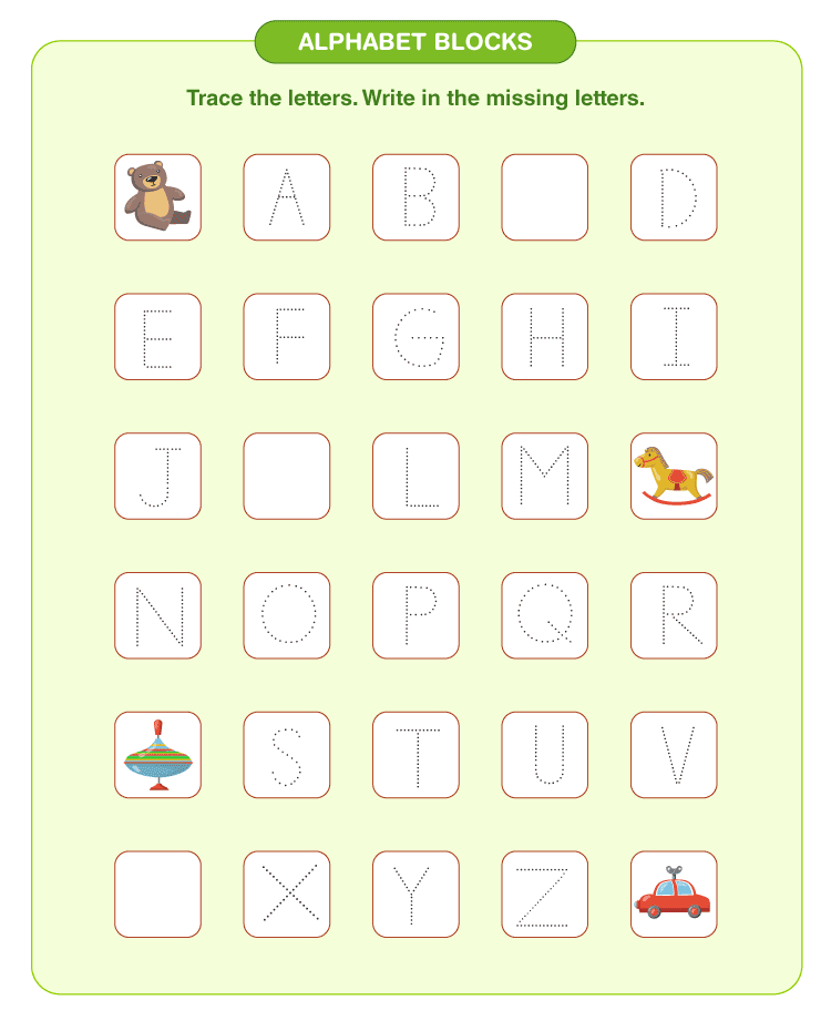 Write the missing letters on the worksheet: Free writing practice for kids