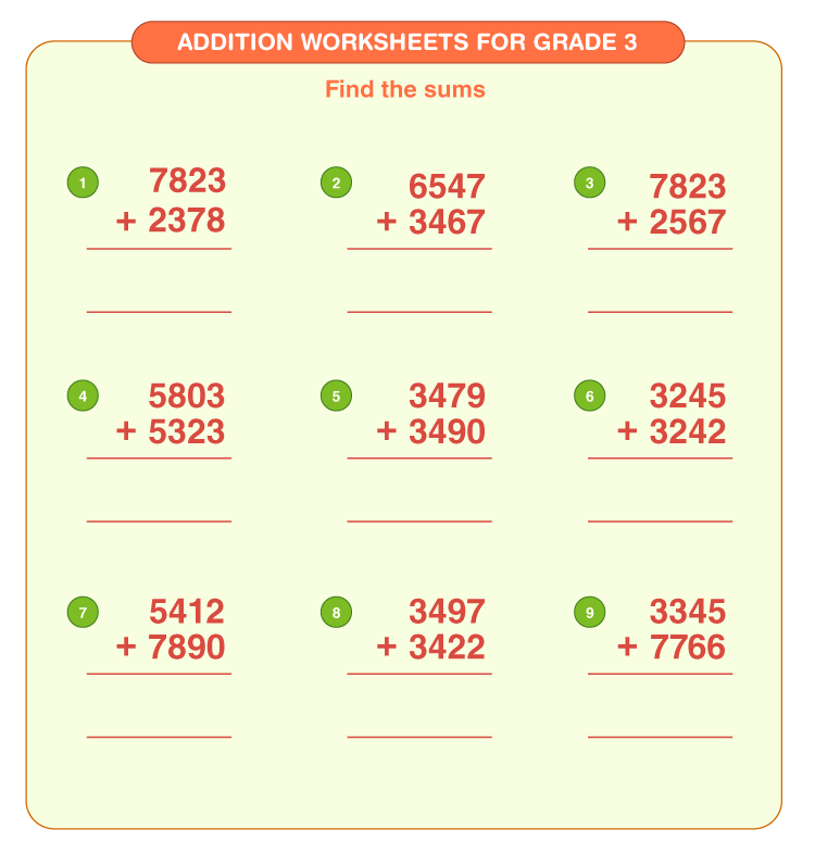 Addition worksheets for grade 3 5