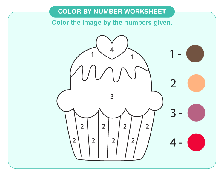 Color the ice cream using the color code: Color by number worksheet