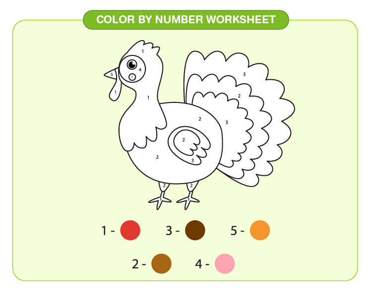 Color the bird using the color code: Free printable color by number worksheet for kids