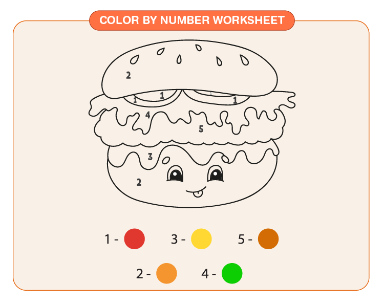 Color the burger using color code: Free color by number worksheet