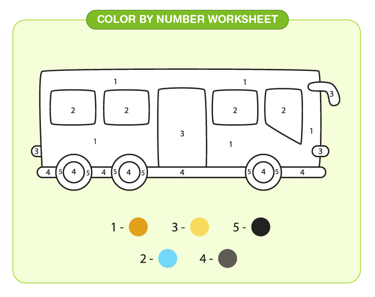 Color the bus using the color code: Color by number printables
