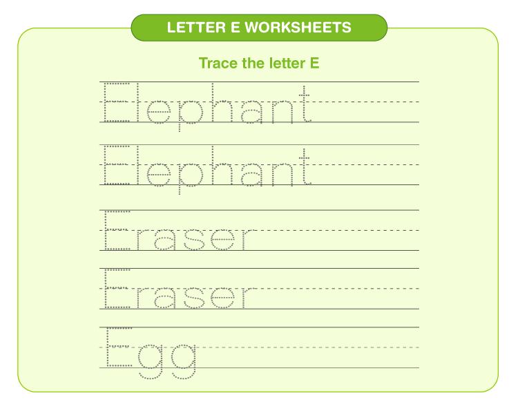 Practice writing elephant, eraser and egg on the worksheet: Letter E printable worksheets for kids