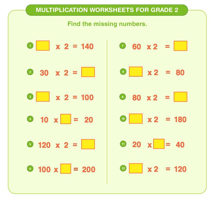 Find the missing number worksheets for kids: 2nd grade multiplication worksheets
