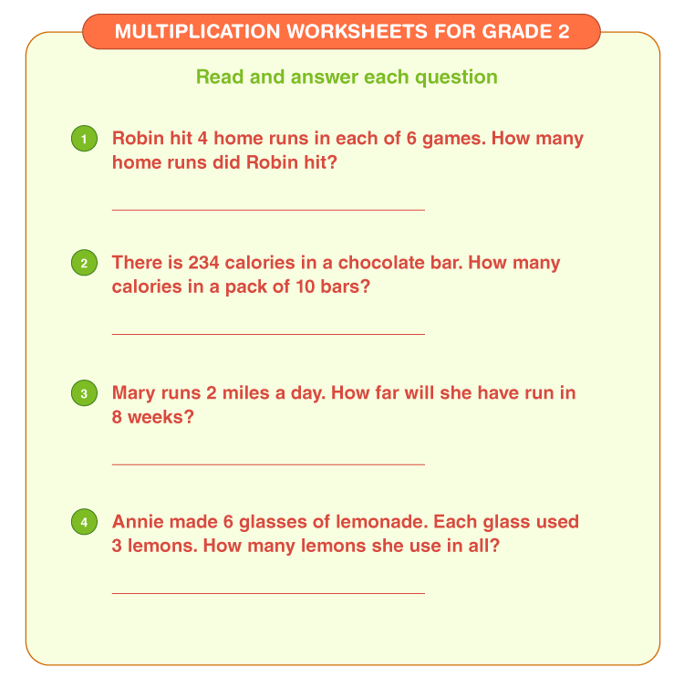 Answer the questions on multiplication: Grade 2 math worksheets on multiplication