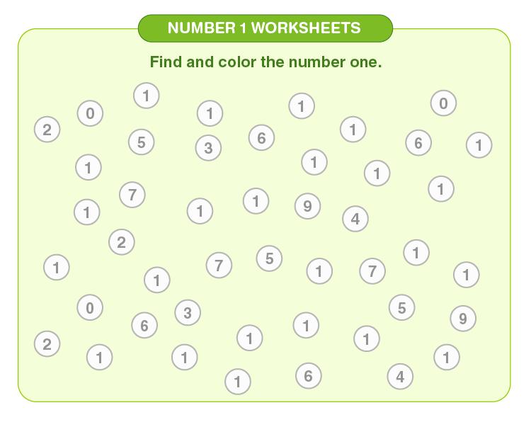 Number 1 worksheets 02