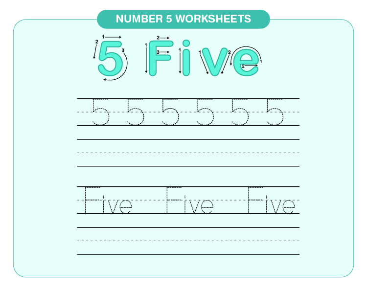 Practice writing number 5 on the worksheet: Number 5 worksheets for kids