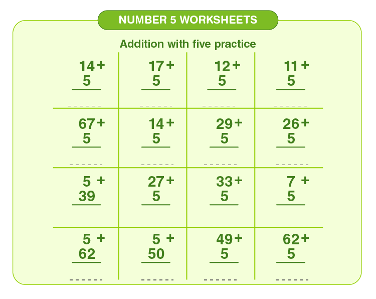 Add numbers with 5: Number 5 printable worksheets for kids