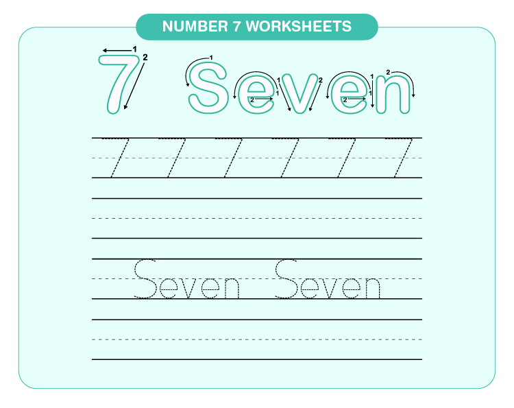 Practice writing number 7 on the worksheet: Number 7 worksheets for kids