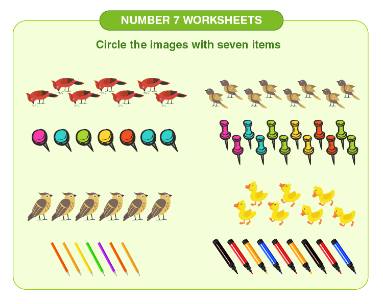 Circle the 7 items on the worksheet: Free number 7 worksheets for kids