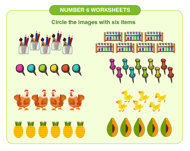 Count and circle the 6 items on the worksheet: Free number 6 worksheets for kids