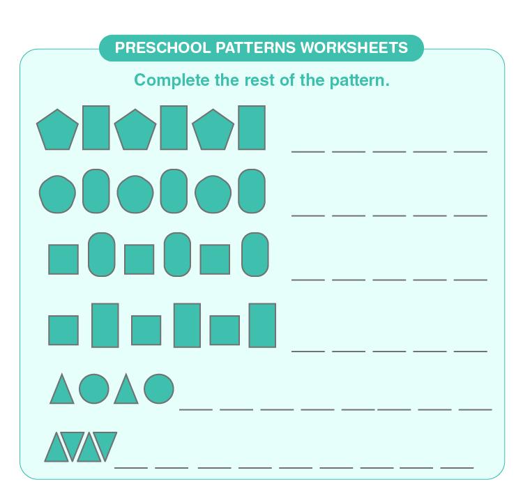 Complete the pattern on the worksheet: Preschool pattern worksheets for kids
