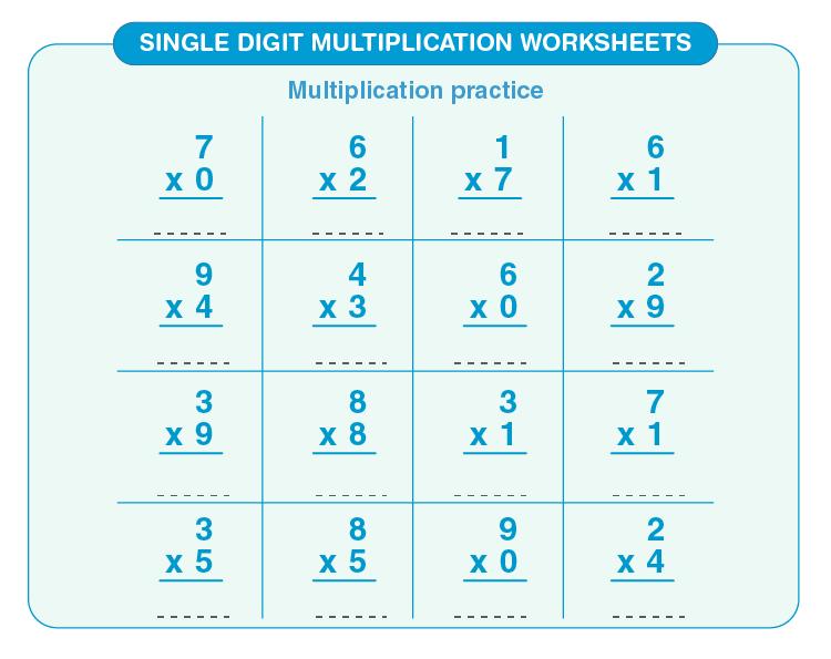 Practice worksheet of single digit multiplication:  Free printable multiplication worksheet