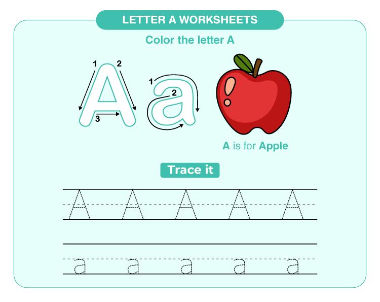 letter A worksheets