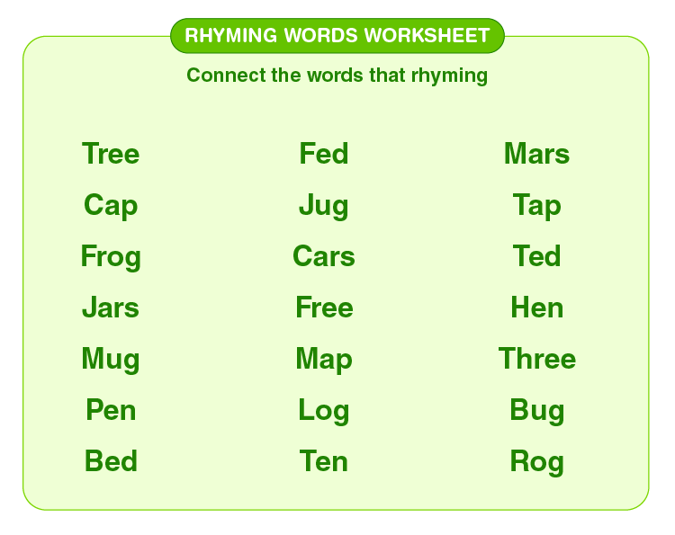 Connect the rhyming words: Matching rhyming words worksheet