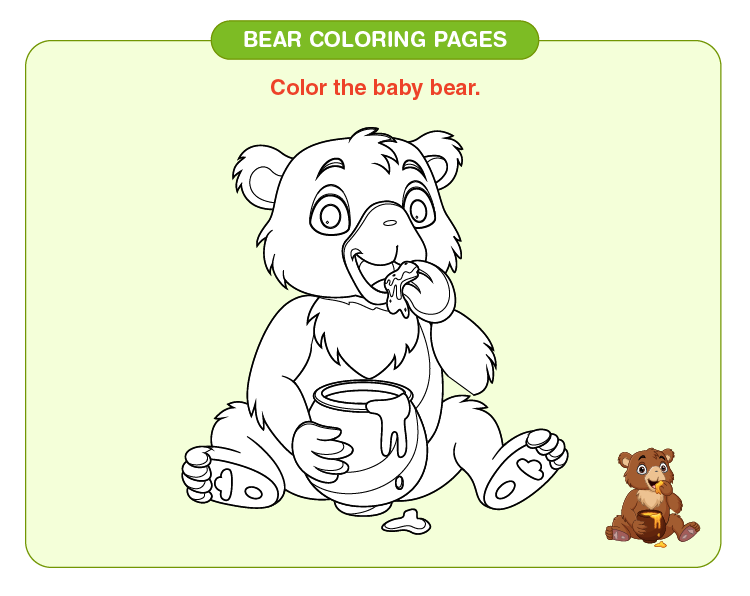 Color the baby bear:  Bear coloring pages for kids