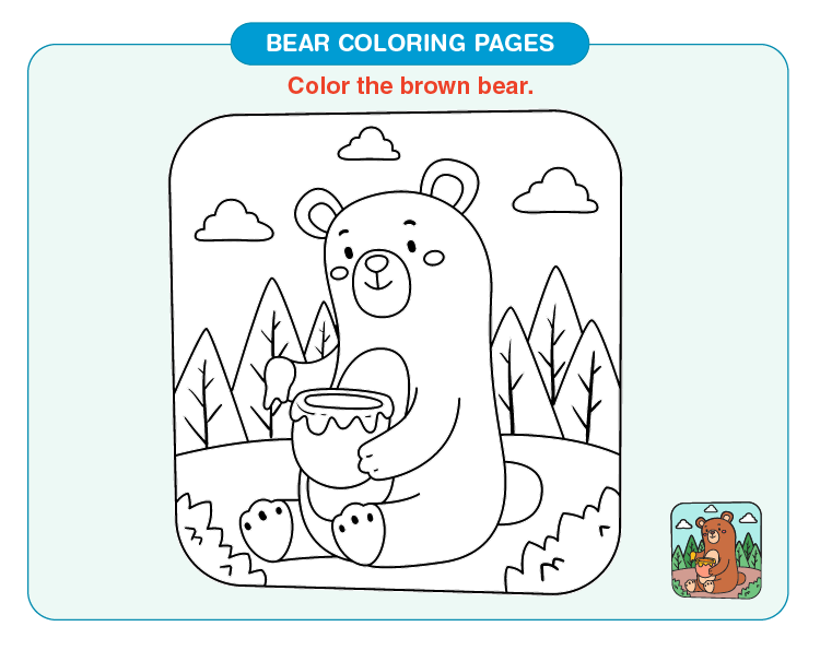 Color the brown bear:  Free bear coloring pages for kids