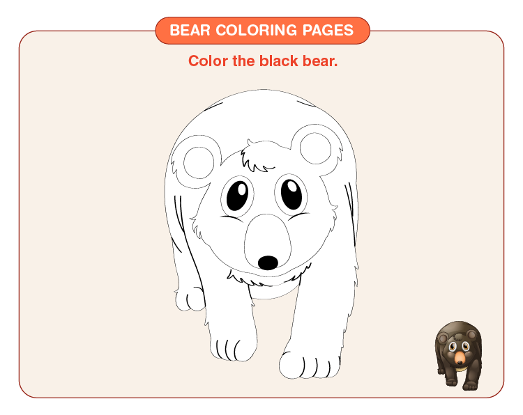 Color the black bear: Printable bear coloring pages for kids
