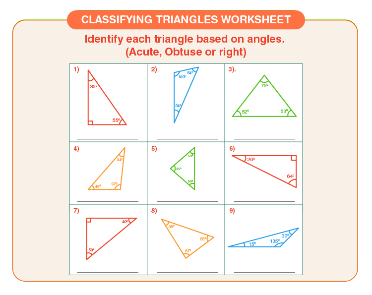 Identify triangles based on different angles: Free printable classifying triangles worksheet
