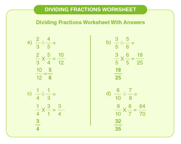 Divide the fractions on the worksheet: Dividing fractions worksheets