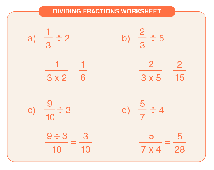 Divide the fraction by whole number: Dividing fractions printable worksheet
