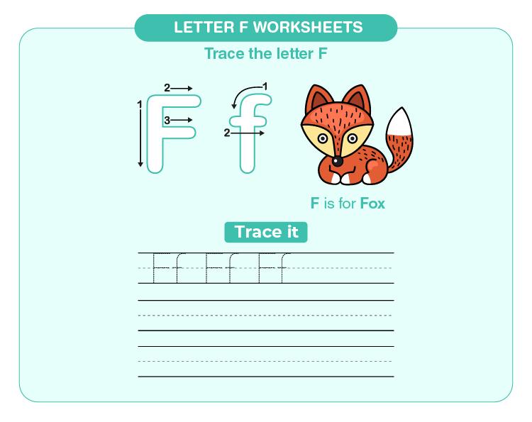 Practice writing letter F on the worksheet: Letter F worksheets for kids