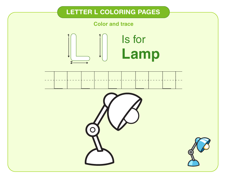 Color the lamp: Printable letter L coloring pages for kids