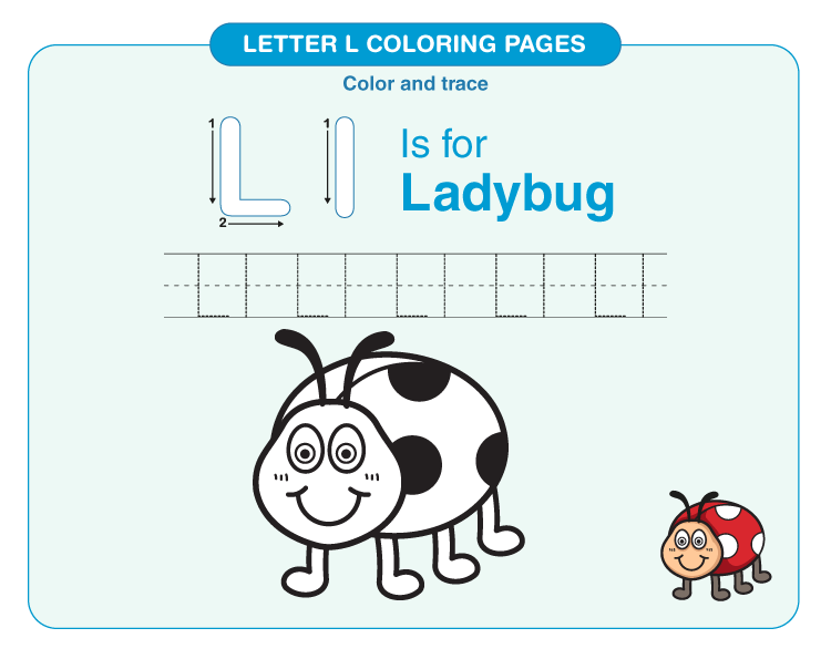 Color the lady bug: Coloring pages for letter L.