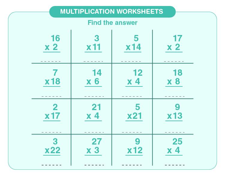 Solve multiplication problems: Multiplication worksheets grade 3