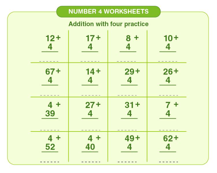 Number four worksheets 02