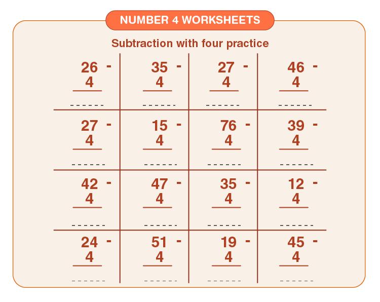 Number four worksheets 03