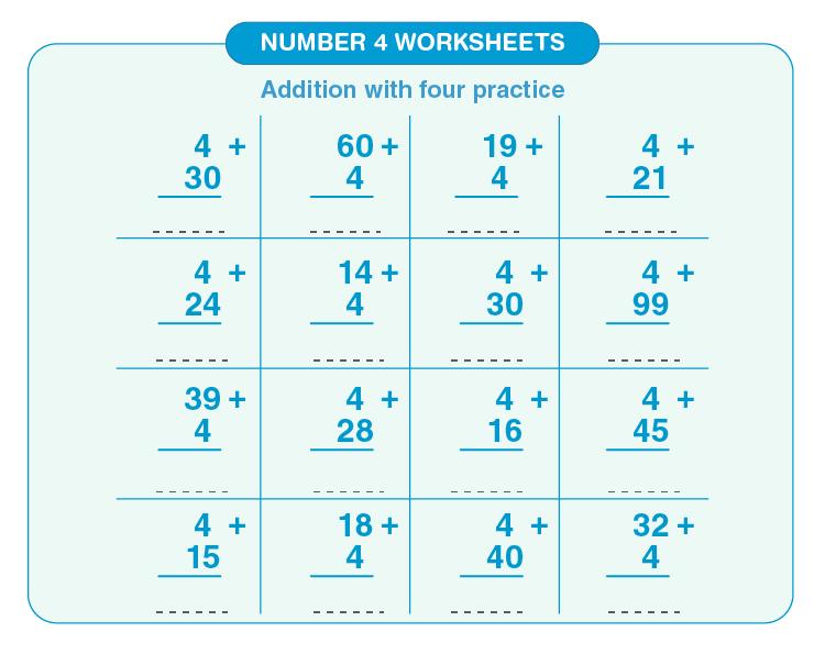 Number four worksheets 04