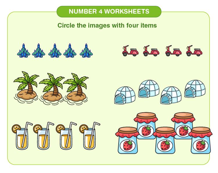 Number four worksheets 05