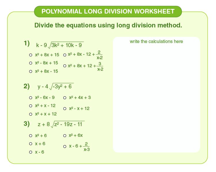 Polynomial Long Division Worksheet Polynomial Long Division Worksheet 02