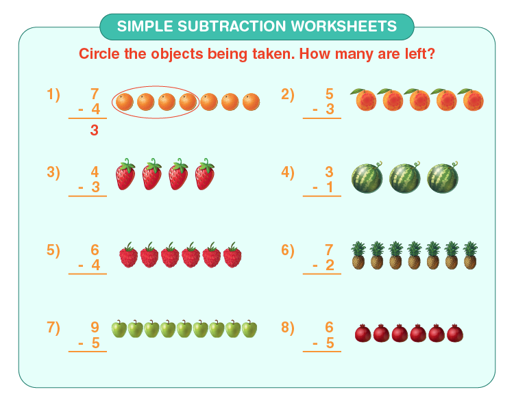 Subtract the number of fruits on the worksheet: Simple subtraction worksheets