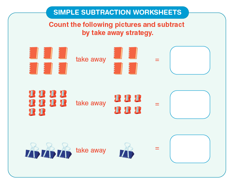 Subtract the number of objects: Printable simple subtraction worksheets for kids