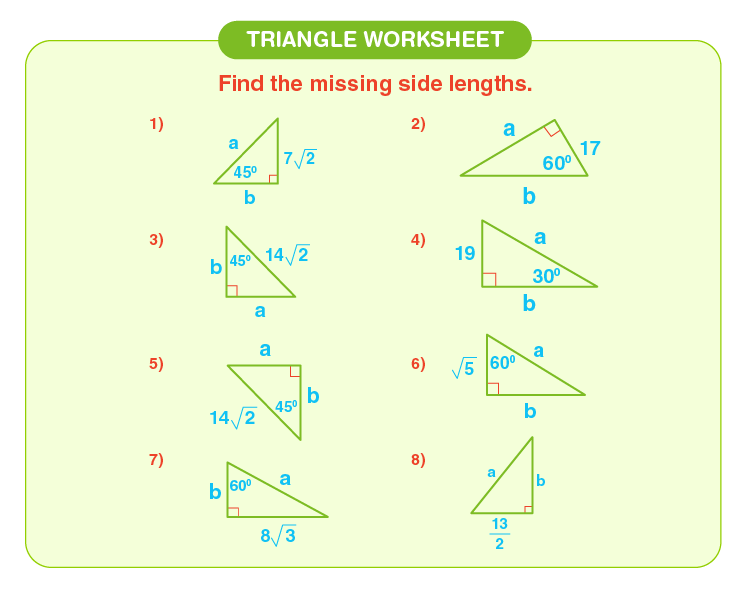 Find the missing sides of the triangle: Worksheet on triangle