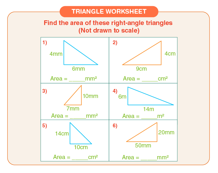 Find the area of triangle: Printable right triangle worksheets for kids