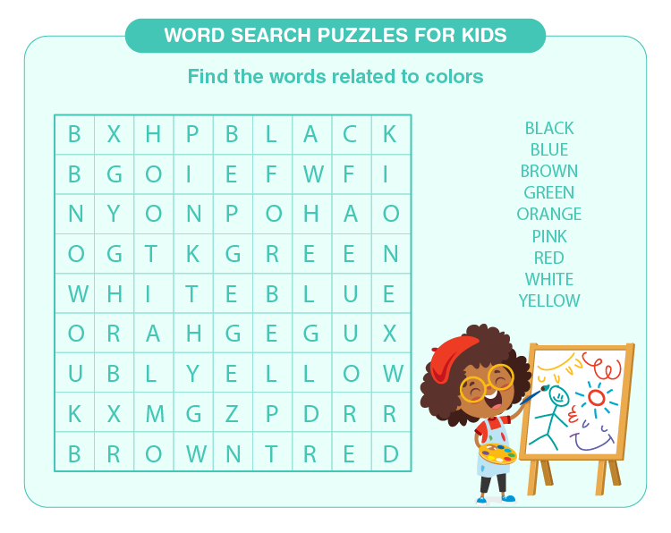 Find the names of the colors: Word search puzzles for kids