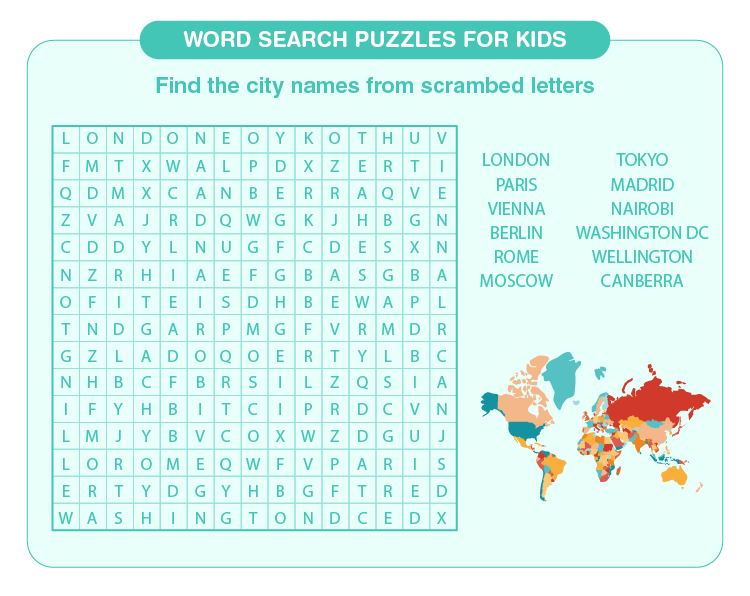 Find the names of the city: Free printable word search puzzles for kids