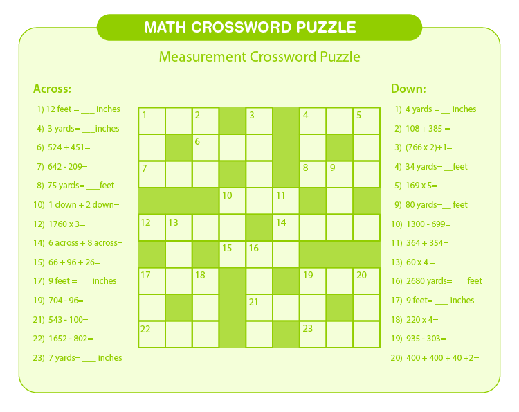 Puzzle on measurement: Free printable math crossword puzzles for kids