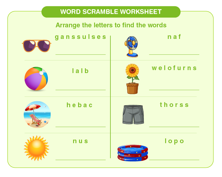 Arrange the letters in the correct order: Words scramble worksheet