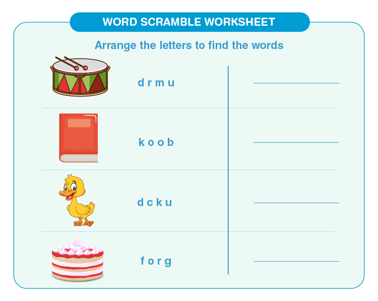 Arrange the letters to find the correct words: Free word scramble worksheet for kids