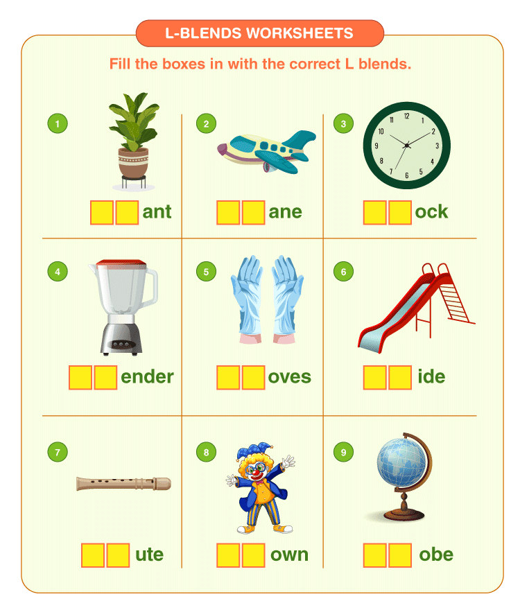 Fill the empty space with L blends: L Blends worksheets for kids