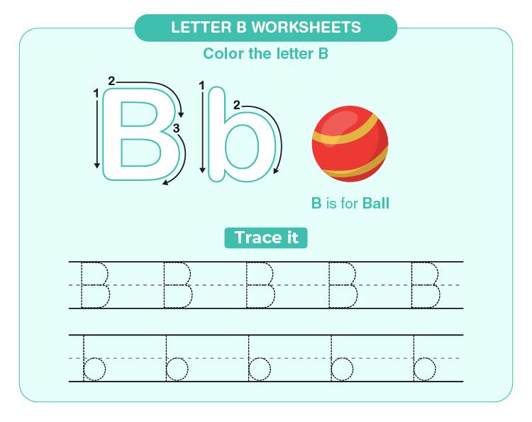 Write B for ball on the worksheet: Letter B worksheets for kids