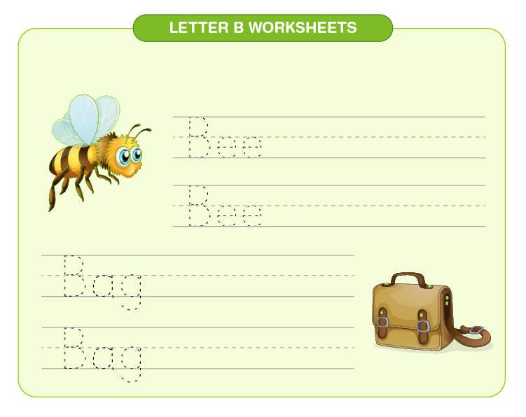 Practice writing bee and bag on the worksheet: Letter B printable worksheets for kids