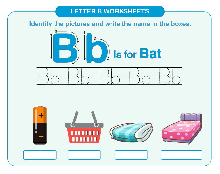 Identify and write the names of the items mentioned on the worksheet: Free letter B worksheets