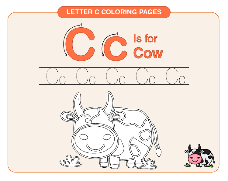 Color the cow: Letter c coloring printable for kids