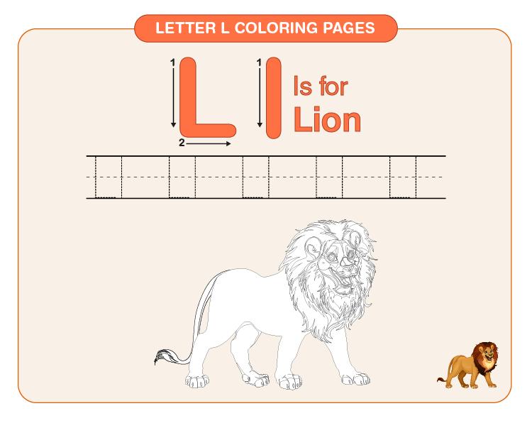 Color the lion: Letter L coloring pages for kids